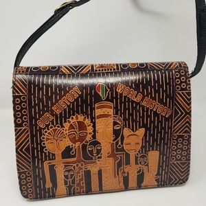 Vintage African Inspired Leather Handbag NWT